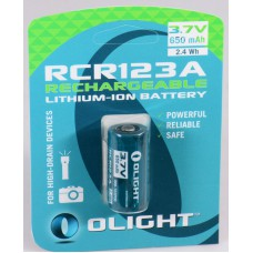 Olight RCR123A / 16340 650mAh 3.7V Protected Lithium Ion (Li-ion) Button Top Battery - Retail Card